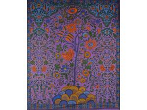 """Tree of Life Tapestry Cotton Spread 106"""" x 70"""" Twin Purple"""