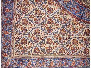 """Kalamkari Block Print Square Cotton Tablecloth 60"""" x 60"""" Multi Color"""