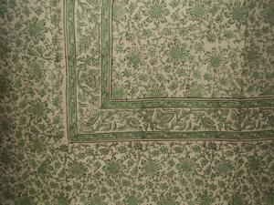 """Daisy Chain Block Print Tapestry Cotton Bedspread 108"""" x 88"""" Full-Queen Green"""
