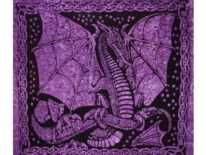 "Celtic Dragon Tapestry Cotton Bedspread 90"" x 84"" Full Purple"