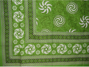 "Pinwheel Print Tapestry Cotton Bedspread 90"" x 87"" Full Green"