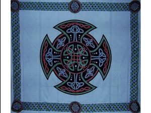 "Celtic Cross Tapestry Cotton Bedspread 104"" x 88"" Full Blue"