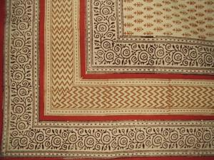 "Bagru Block Print Cotton Tablecloth 90"" x 60"" Barley"