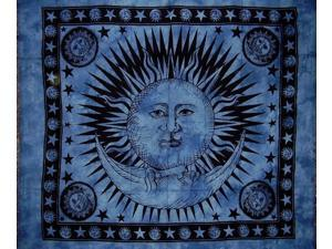 "Celestial Tapestry Cotton Bedspread 92"" x 82"" Full Blue"