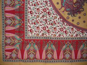 """Floral Peacock Cotton Tablecloth 88"""" x 60"""" Red"""