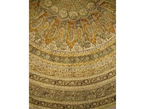 "Veggie Dye Block Print Round Cotton Tablecloth 72"" Olive Green"