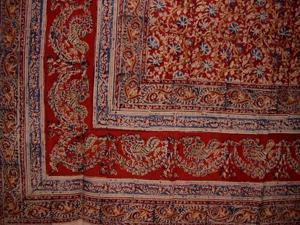 """Veggie Dye Block Print Cotton Tablecloth 90"""" x 60"""" Red"""