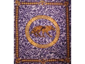 """Celtic Wolf Tapestry Cotton Bedspread 108"""" x 88"""" Full-Queen Purple"""
