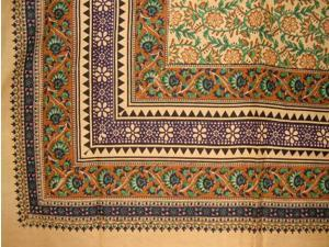 "Turkish Floral Print Tapestry Cotton Spread 106"" x 70"" Twin Green"