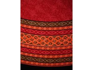 "Calico Print Round Cotton Tablecloth 72"" Red"