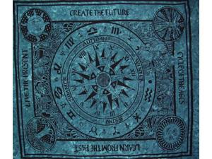 """Cycle of Ages Celtic Tapestry Cotton Bedspread 90"""" x 84"""" Full Teal"""
