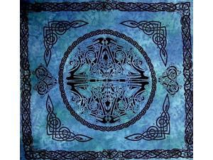 """Web of Life Celtic Tapestry Cotton Bedspread 90"""" x 84"""" Full Blue"""