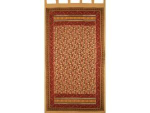 "Turkish Floral Tab Top Curtain Drape Panel Cotton 44"" x 88"" Red Tan"