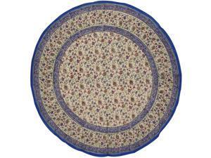 """Primitive Block Print Floral Round Cotton Tablecloth 72"""" Blue"""