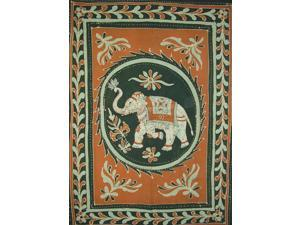 "Lucky Batik Elephant Tapestry Cotton Bedspread  108"" x 88"" Full-Queen Brown"