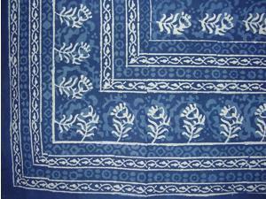 "Block Print Cotton Tablecloth 88"" x 58"" Indigo Blue"