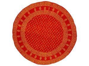 "Block Print Round Cotton Tablecloth 72"" Red Orange"