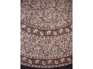 """Block Print Floral Round Cotton Tablecloth 72"""" Gray"""