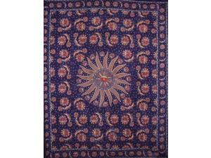 """Celestial Tapestry Cotton Bedspread 108"""" x 88"""" Full-Queen Blue"""