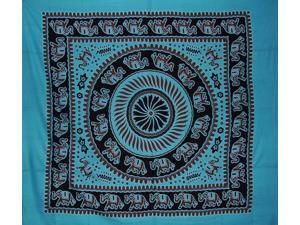 "Mandala Elephant Tapestry Cotton Bedspread 98"" x 84"" Full Turquoise"