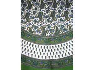 """Floral Paisley Elephants Round Cotton Tablecloth 72"""" Green"""