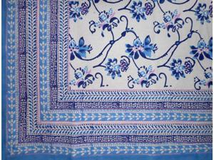 """Ajit Flowers  Block Print Cotton Tablecloth 90"""" x 60"""" Blue"""