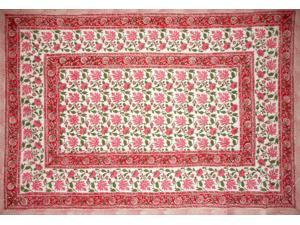 """Pretty in Pink Block Print Cotton Tablecloth 90"""" x 60"""" Pink"""