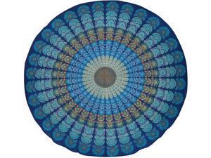 "Sanganeer Print Round Cotton Tablecloth 72"" Blue"