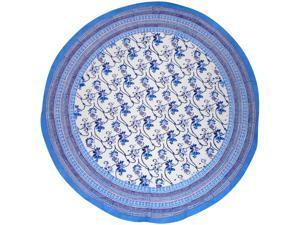 "Ajit Flowers  Block Print Round Cotton Tablecloth 70"" Blue"