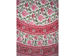 """Pretty in Pink Block Print Round Cotton Tablecloth 68"""" Pink"""