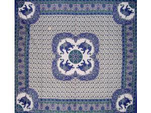 """Good Luck Elephant Tapestry Cotton Bedspread 108"""" x 102"""" Queen-King Blue"""