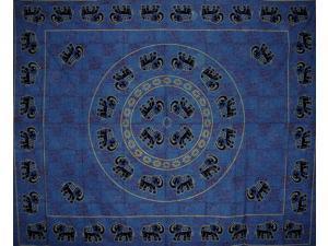"Mandala Elephant Tapestry Cotton Bedspread 108"" x 88"" Full-Queen Blue"