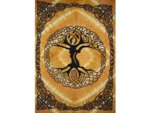 "Celtic Tree of Life Tie Dye Tapestry Heavy Cotton Spread 98"" x 70"" Twin Amber"