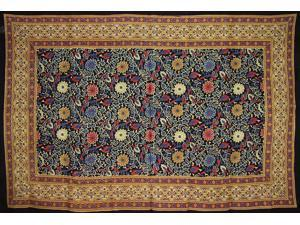"Sunflower Print Tapestry Cotton Spread 102"" x 70"" Twin Black"