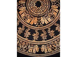 "Mandala Elephant Round Cotton Tablecloth 72"" Amber"