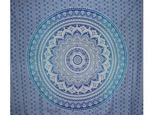 "Mandala Indian Tapestry Cotton Bedspread 96"" x 84"" Full Blue"
