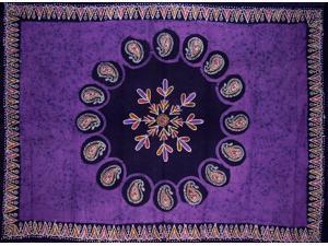 "Batik Tapestry Cotton Spread 106"" x 70"" Twin Purple"