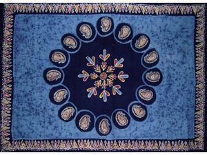 "Batik Tapestry Cotton Spread 106"" x 70"" Twin Blue"