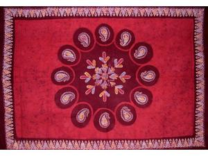 "Batik Tapestry Cotton Wall Hanging or Tablecloth 90"" x 60"" Red"
