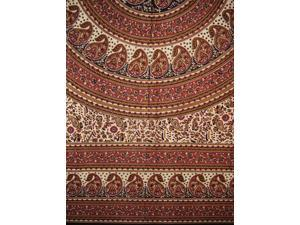 """Paisley Mandala Tapestry Cotton Bedspread 90"""" x 87"""" Full Red"""