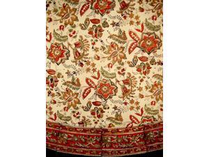 """Jaipur Block Print Round Cotton Tablecloth 72"""" Autumn Colors"""