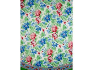 """Floral Brush Round Cotton Tablecloth 72"""" Multi Color"""