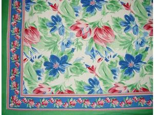 "Floral Brush Cotton Tablecloth 90"" x 60"" Multi Color"