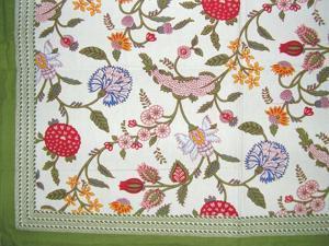 """Floral Berry Cotton Tablecloth 90"""" x 60"""" Multi Color"""