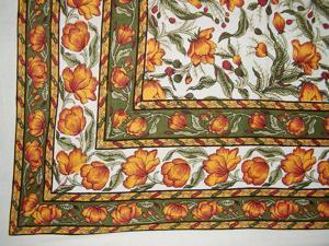 "French Floral Tapestry Cotton Bedspread 104"" x 88"" Full Amber Green"