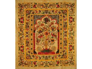 "Tree of Life Tapestry Cotton Bedspread 98"" x 86"" Full Amber"