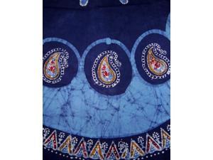 "Batik Round Round Cotton Tablecloth 72"" Blue"