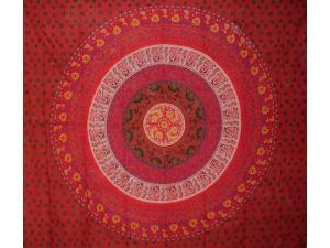 "Indian Mandala Print Tapestry Cotton Bedspread 92"" x 82"" Full Red"
