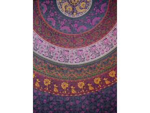 "Indian Mandala Print Tapestry Cotton Bedspread 92"" x 82"" Full Eggplant"
