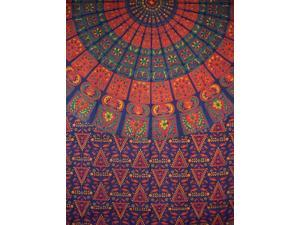 "Indian Mandala Print Tapestry Cotton Bedspread 92"" x 82"" Full Blue"